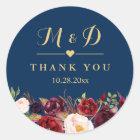 Burgundy Floral Navy Blue Monogram Wedding Favour Classic Round Sticker