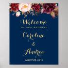 Burgundy Floral Navy Blue Welcome Wedding Sign