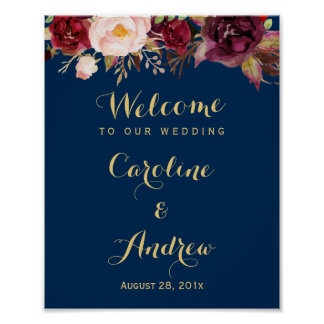 Burgundy Floral Navy Blue Welcome Wedding Sign
