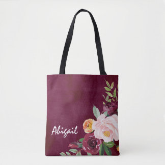 Burgundy Floral Peonies Personalized Tote Bag
