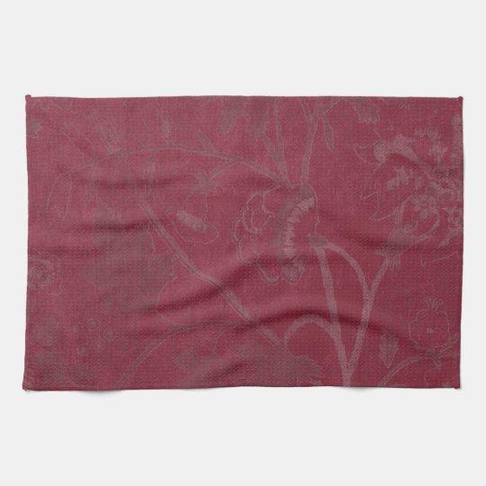 Burgundy Floral Print Background Tea Towel