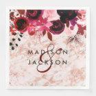 Burgundy Floral Rose Gold Marble Wedding Monogram Disposable Napkin