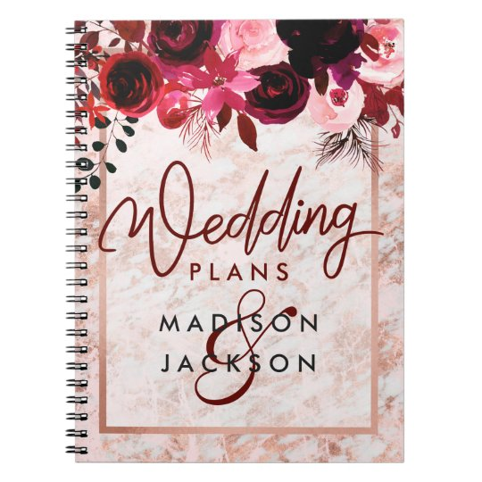 Burgundy Floral & Rose Gold Marble Wedding Planner