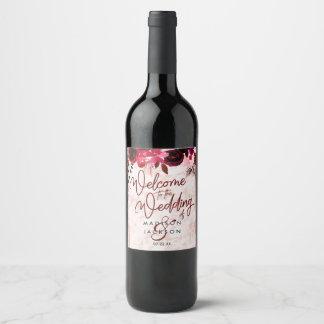 Burgundy Floral & Rose Gold Marble Wedding Welcome Wine Label