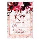 Burgundy Floral & Rose Gold Marbled Wedding RSVP Card