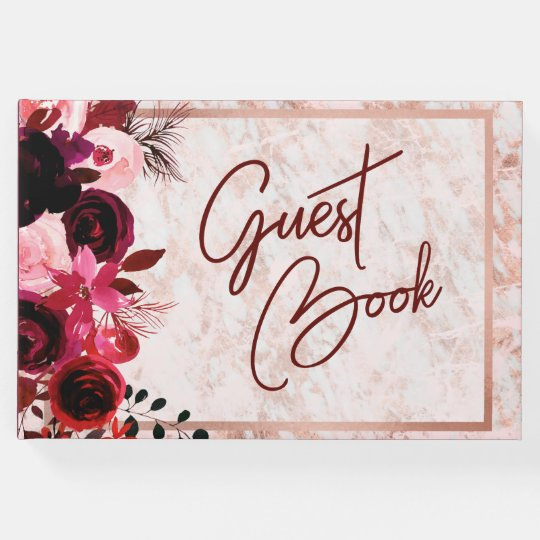 Burgundy Floral & Rose Gold Wedding Monogram Guest