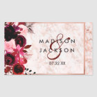 Burgundy Floral & Rose Gold Wedding Monogram Rectangular Sticker