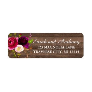 Burgundy Floral Rustic Gold Blush Rose Address