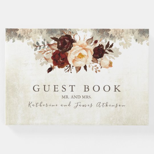 Wedding Photo Books Uk: Burgundy Floral Rustic Wedding Guest Book