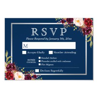 Burgundy Floral Silver Navy Blue Meal Options RSVP Card