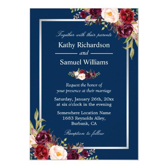 Burgundy Floral Silver Navy Blue Winter Wedding Card