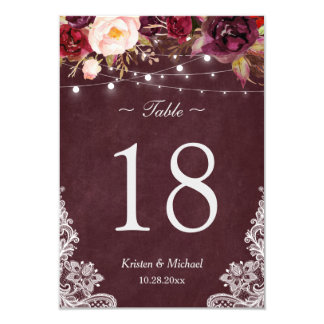 Burgundy Floral String Lights Lace Table Number