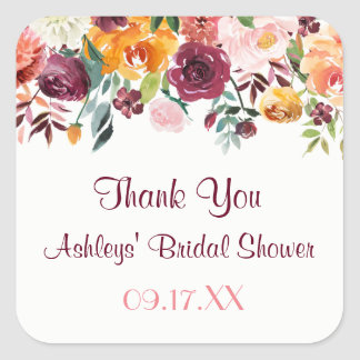 Burgundy Floral Sunset Thank You Sticker