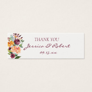 Burgundy Floral Sunset Wedding Gift Tag Mini Business Card