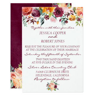 Burgundy Floral Sunset Wedding Invitation