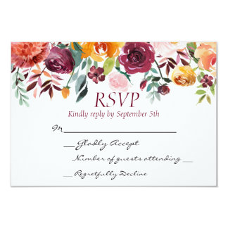 Burgundy Floral Sunset Wedding RSVP Card