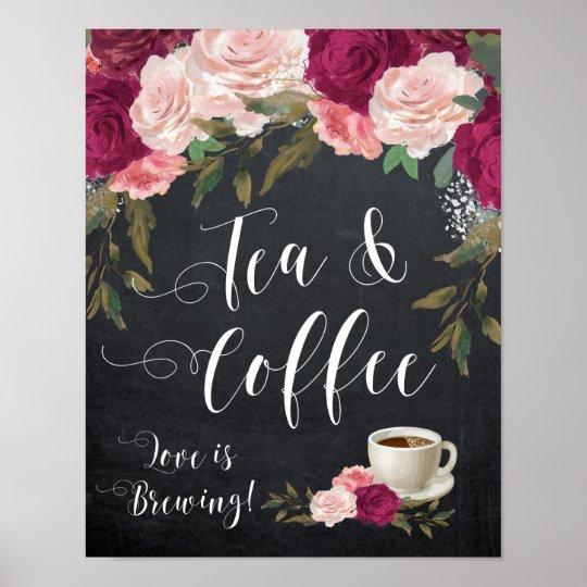 burgundy floral tea and coffee sign wedding