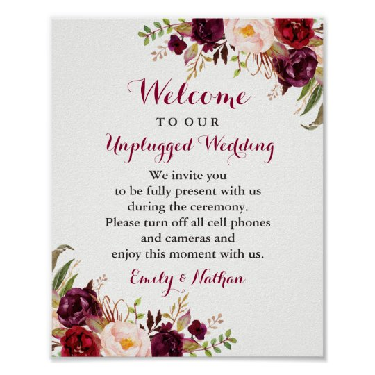 Burgundy Floral Unplugged Wedding Sign