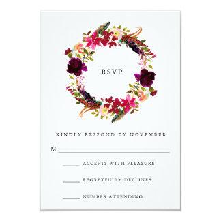 Burgundy Floral Watercolor RSVP Card