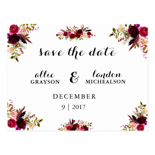 Burgundy Floral Watercolor Save the Date Postcard