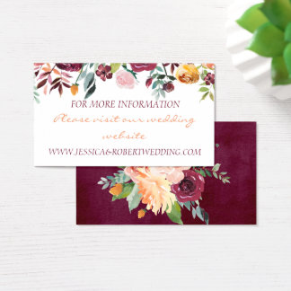 Burgundy Floral Wedding Details Card