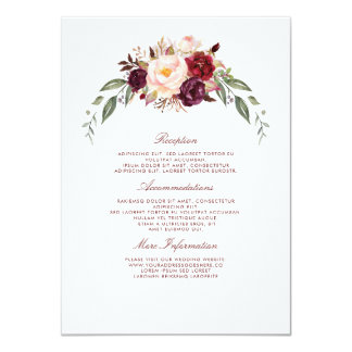 Burgundy Floral Wedding Information Guest Card