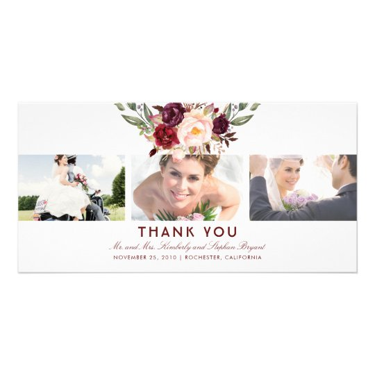 Burgundy Floral Wedding Thank You Photo Card