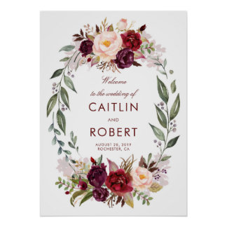 Burgundy Floral Wedding Welcome Poster