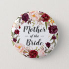 Burgundy Floral Wreath Mother of the Bride Groom 6 Cm Round Badge