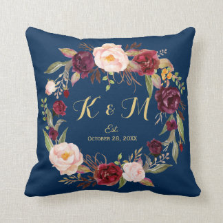 Burgundy Floral Wreath Navy Blue Wedding Monogram Cushion