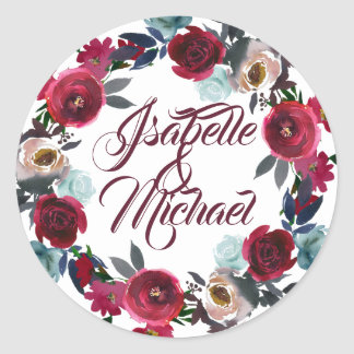 Burgundy Floral Wreath Personalized Wedding Classic Round Sticker
