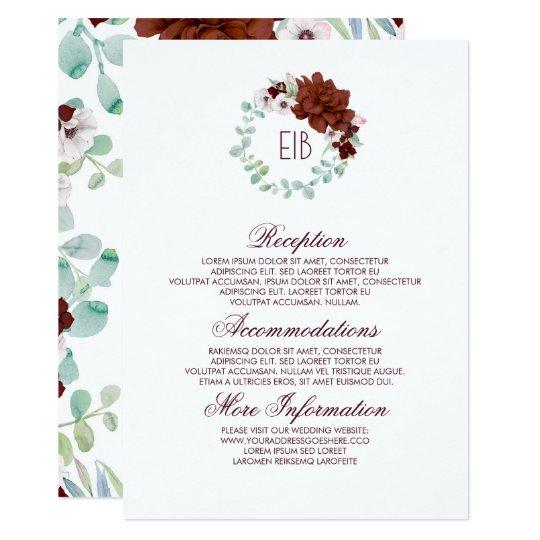 Burgundy Floral Wreath Wedding Information Guest Card