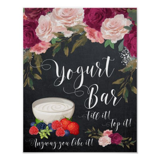 burgundy floral yogurt bar sign chalkboard wedding