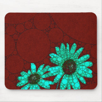 Burgundy Florescent Turquoise Flowers Mouse Pad