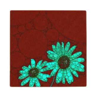 Burgundy Florescent Turquoise Flowers Wood Coaster