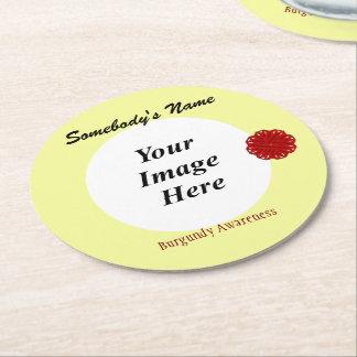 Burgundy Flower Ribbon Template Round Paper Coaster