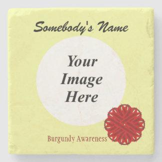 Burgundy Flower Ribbon Template Stone Coaster