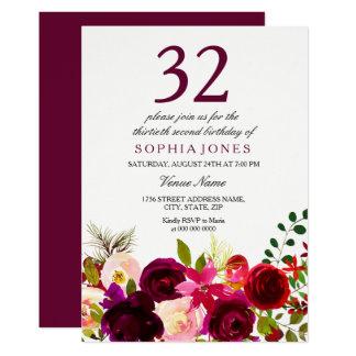 Burgundy Flowers 32nd Birthday Party Invitation