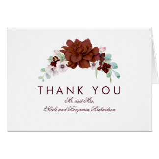 Burgundy Flowers Bouquet Fall Thank You Card