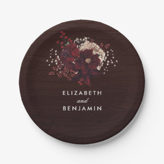 Burgundy Flowers Bouquet Rustic Bouquet Fall Paper Plate