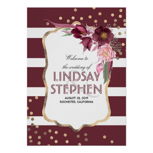 Burgundy Flowers Elegant Gold Dots Wedding Welcome Poster