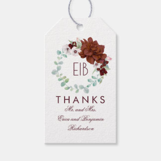 Burgundy Flowers Elegant Wedding Gift Tags