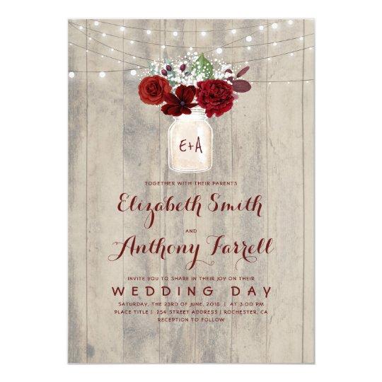 Rustic Mason Jar Floral Wedding Invitations Burgundy: Burgundy Flowers Mason Jar Rustic Wood Wedding Invitation