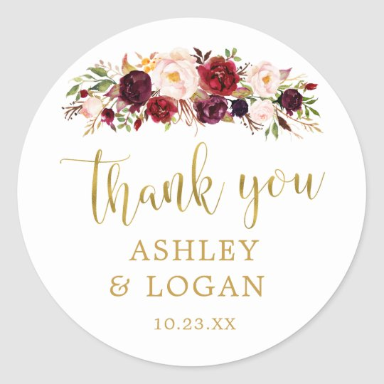 Burgundy Flowers Monogram Wedding Favour Sticker