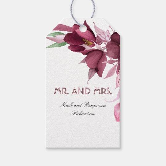 Burgundy Flowers Watercolor Elegant Wedding Gift Tags
