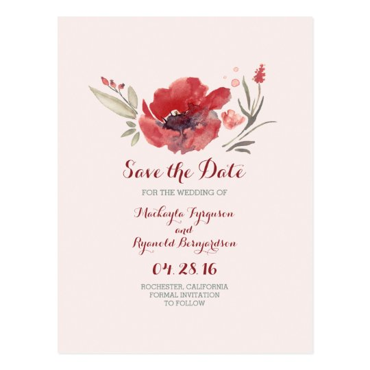 burgundy flowers watercolor save the date postcard