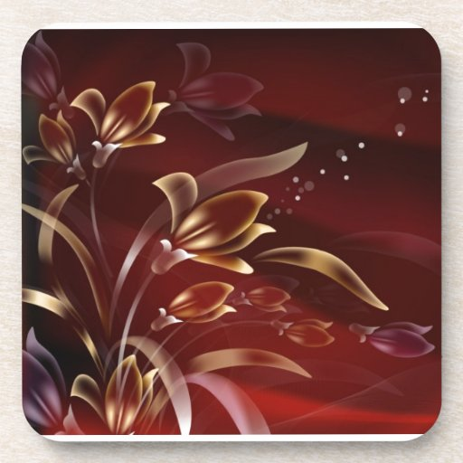 Burgundy Flowers With Bubbles Drink Coasters