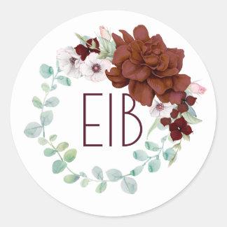 Burgundy Flowers Wreath Elegant Wedding Classic Round Sticker