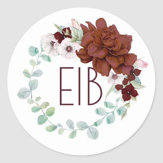 Burgundy Flowers Wreath Elegant Wedding Classic Round Sticker