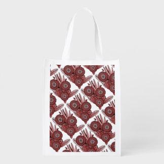 Burgundy Gerbera Daisy Flower Bouquet Reusable Grocery Bag